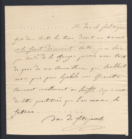 Edward FitzJames 5th Duke of FitzJames Signed Letter Regarding Political Motto